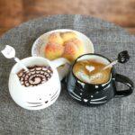 Lot De 2 Mugs Et Cuillères Au Design D'Oreilles De Chats